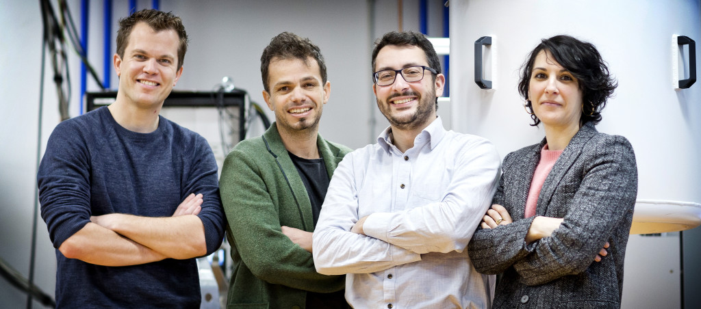 The research team (from left to right): Menno Veldhorst, Giordano Scappucci, Fabio Sebastiano, and Carmina Almudever. Photo credits: Guus Schoonewille.