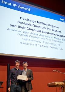 Jeroen van Dijk (left) receiving the Best IP award at DATE 2018 (copyright: DATE 2018).